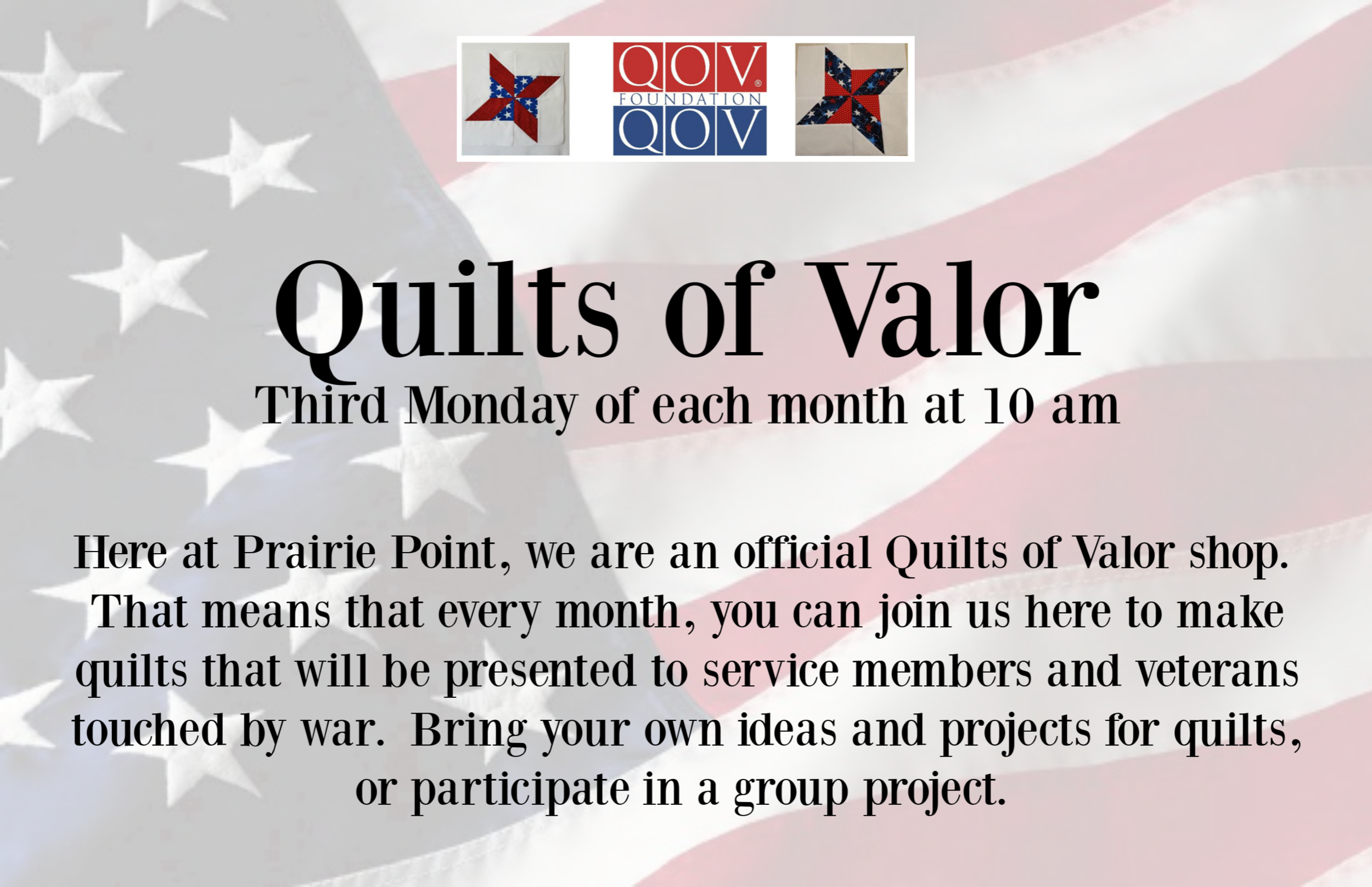 Quilts of Valor promo for class schedule winter spring 2019.png