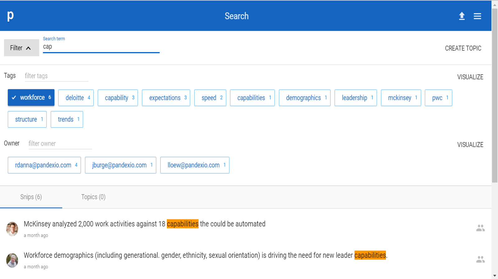 Searching and filtering Smartsnips