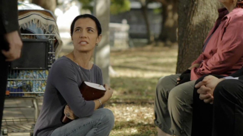 Elena confronts Alderman, shot long lens