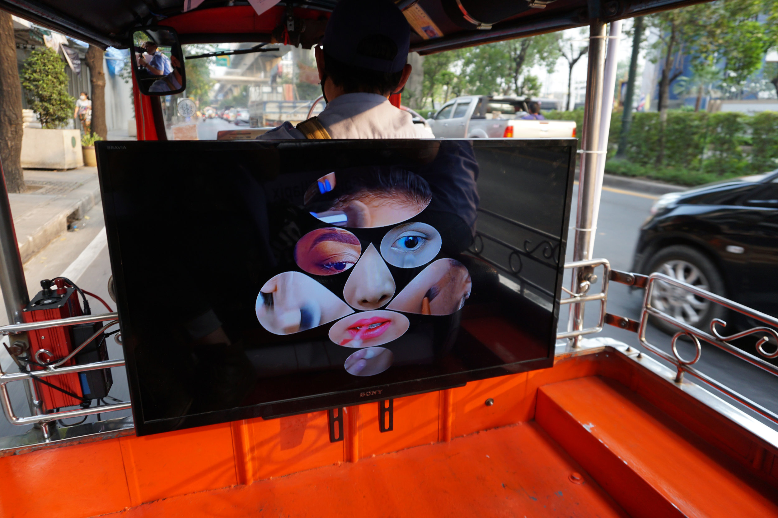 Install view during Pockmark, 2019, a mobile video art experience  Bangkok, Thailand