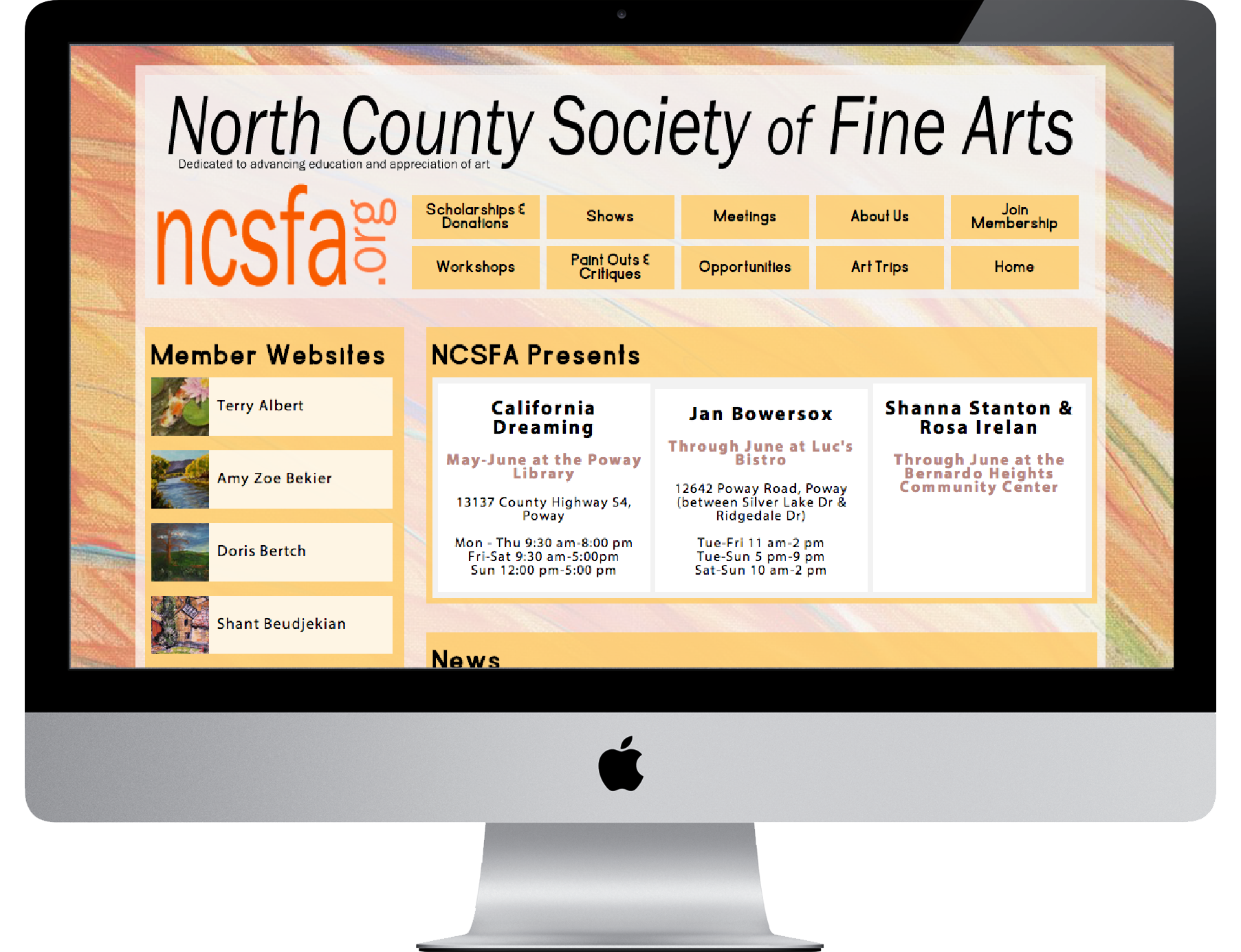 Logo :: Custom Website   North County Society of Fine Arts     ncsfa.org