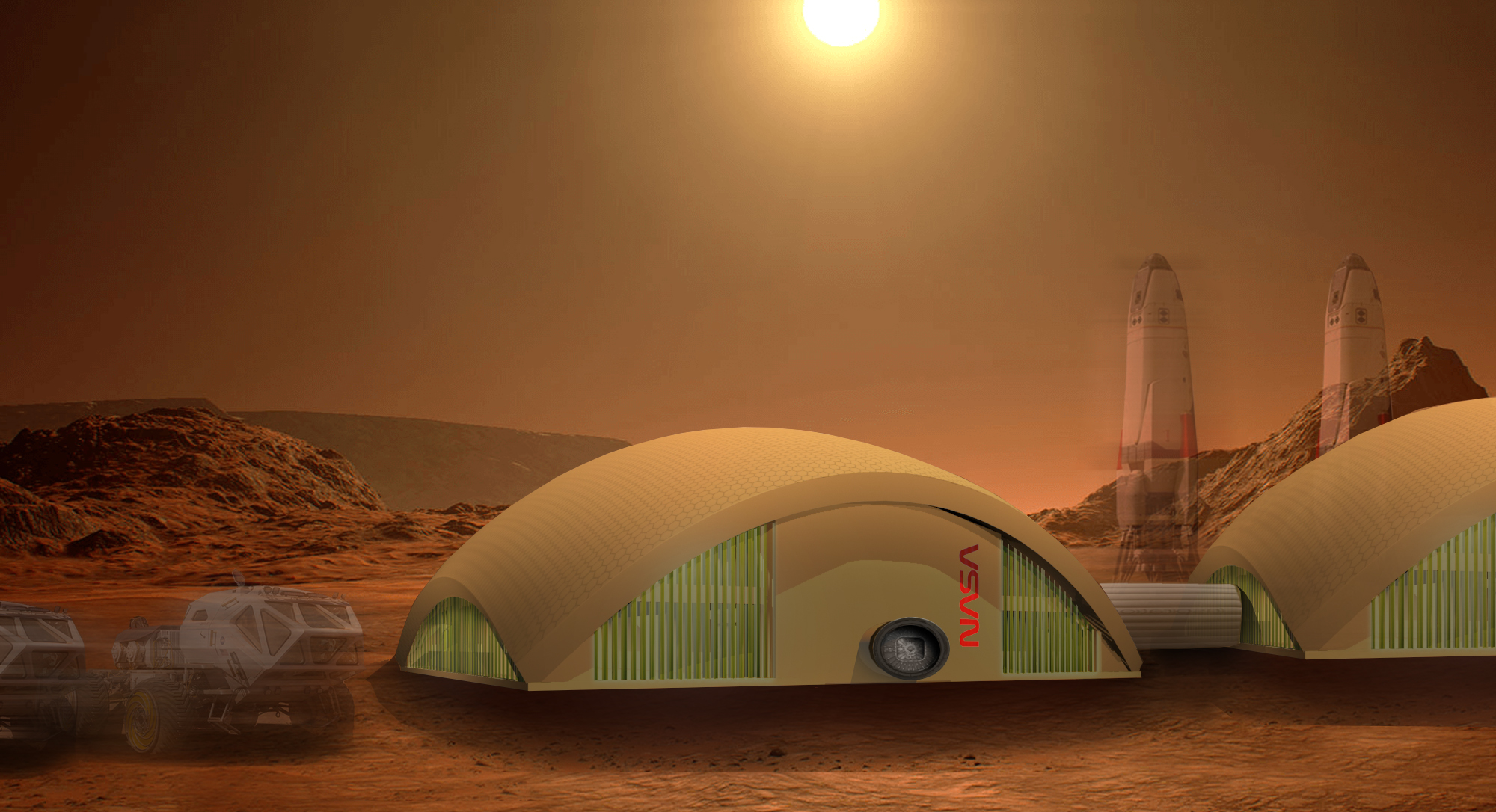 Redhouse Studio design for building on Mars using fungi and algae building materials.