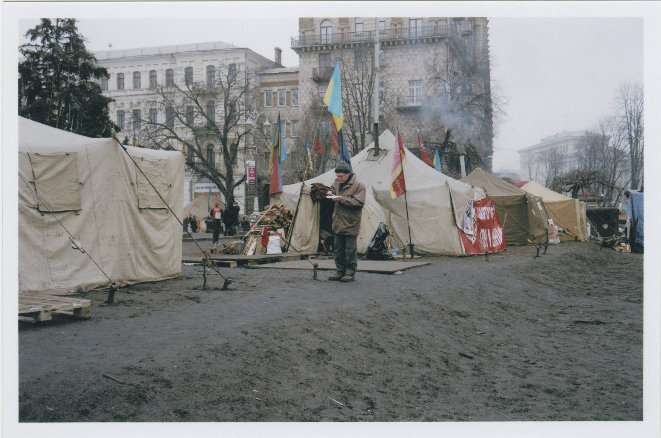 Canvas tents in Maidan. There were about 200 large tents like this set up in the square.    Photo: Michael Berlucchi