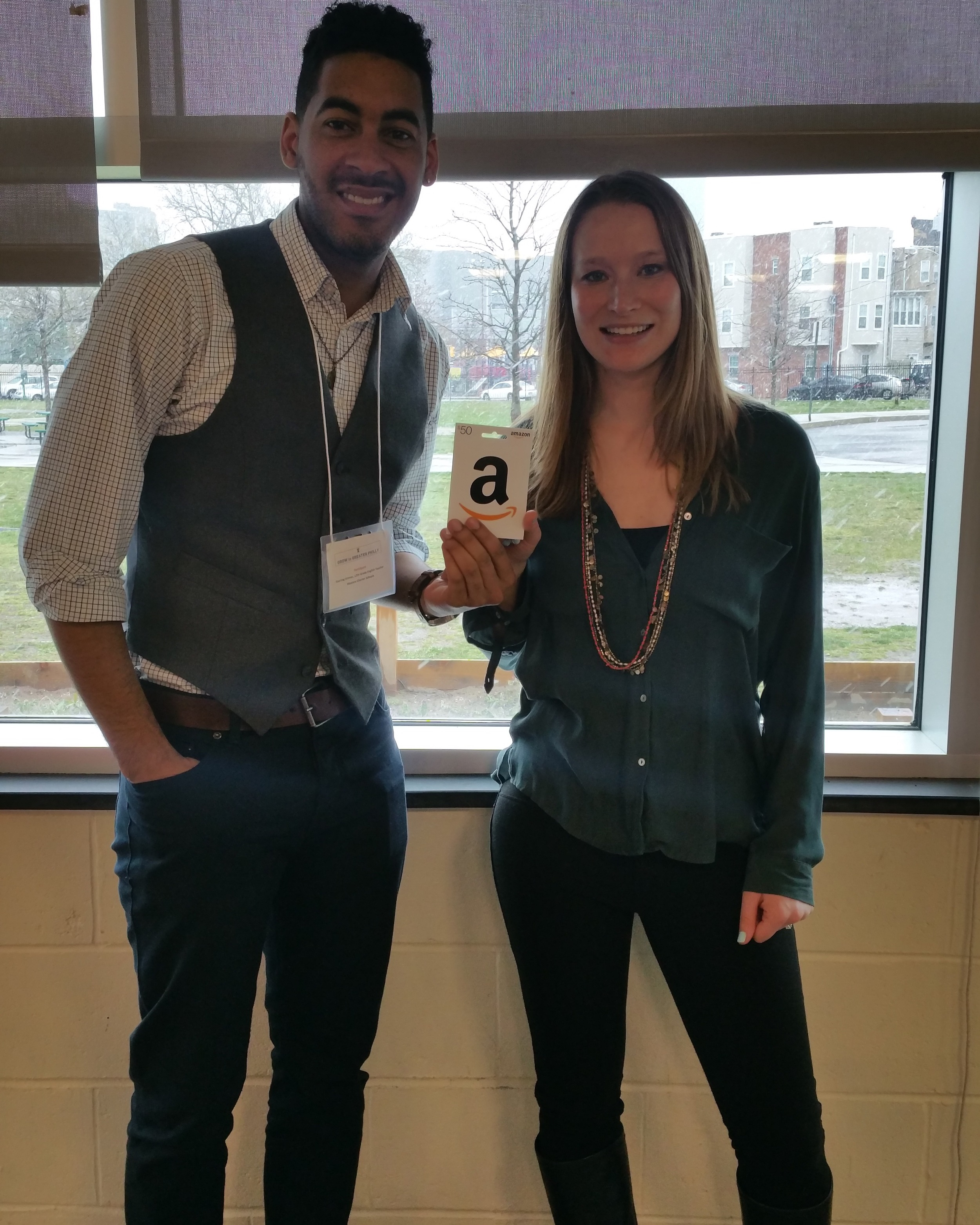 PhilaSoup Chair, Rachel Hodas with winner of the Grow in Greater Philly mini-soup, Sterling Grimes.