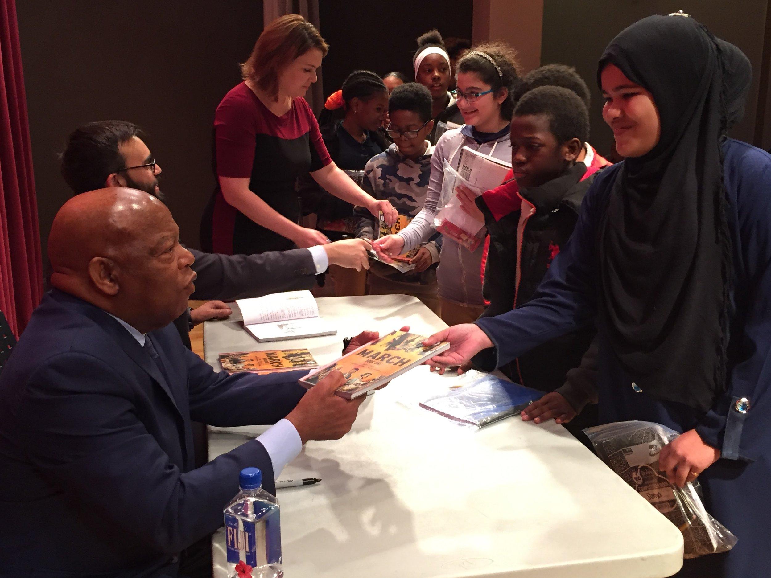 Sarah's students meeting Rep. John Lewis