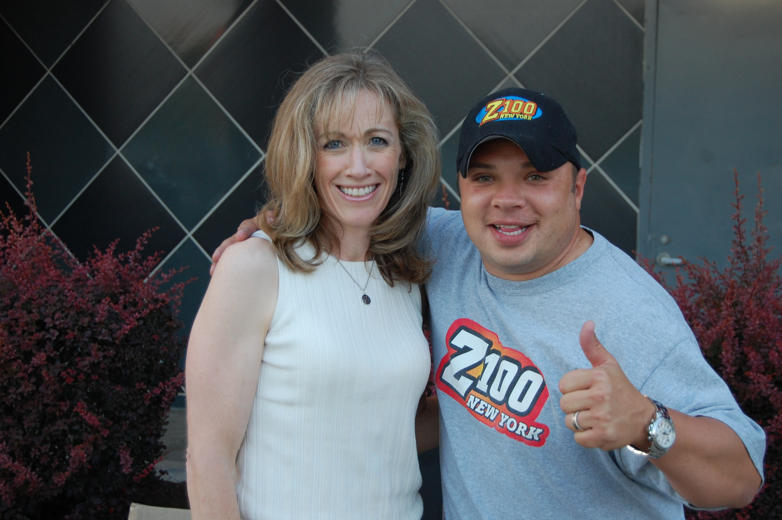 Risa Hoag with Greg T. of the Z100 Morning Show at a personal appearance for the opening of the new AMC/IMAX Theatre in New Jersey.