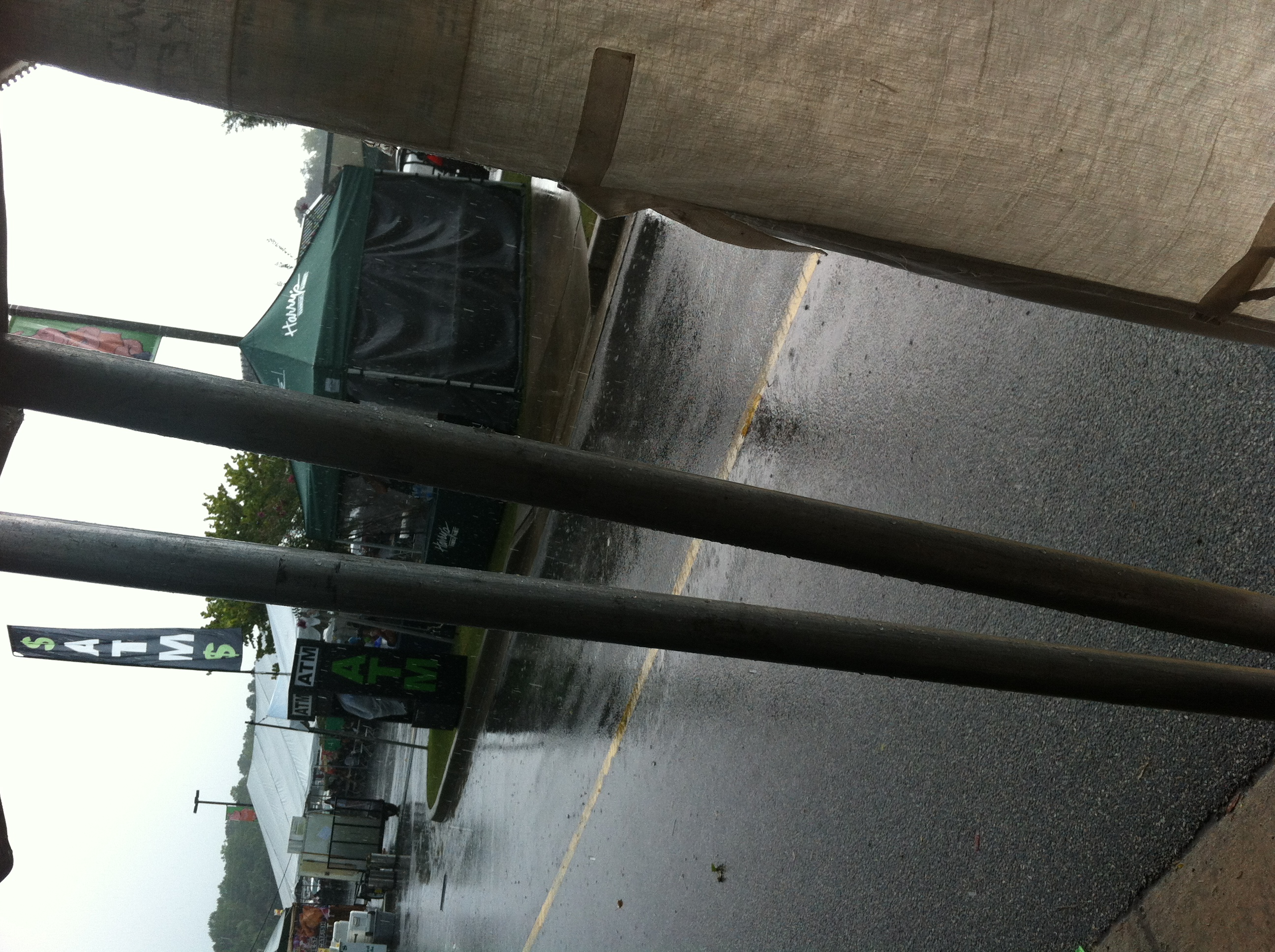 This is a shot from our tent as the rainstorm drives all of the patrons away. Always carry tent sides...you never know!