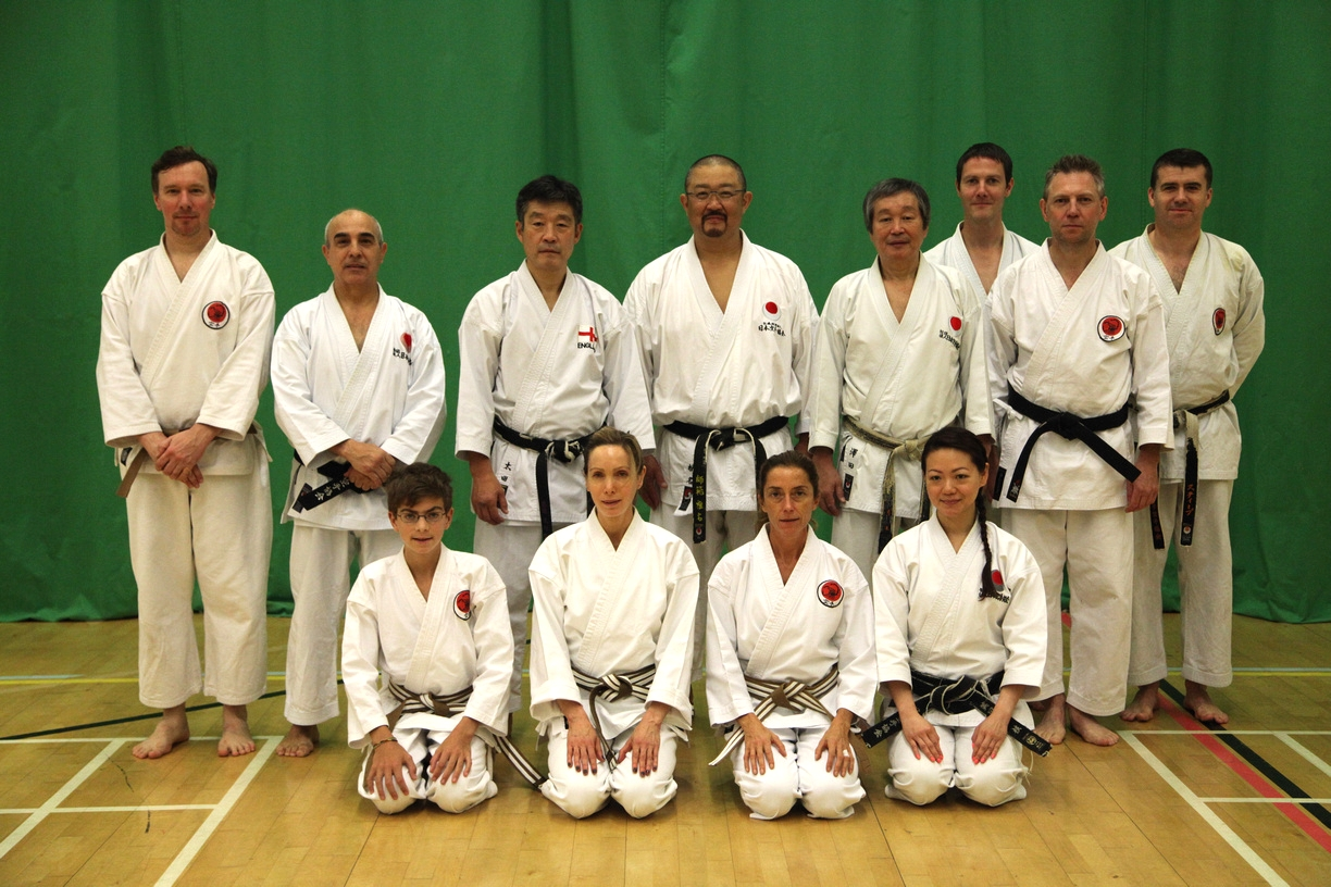 Sasori Club members at the JKA England Autumn International course at Crawley, October 2014. Picture taken with Sanna Sensei, Ohta Sensei, Shiina Sensei and Sawada Sensei