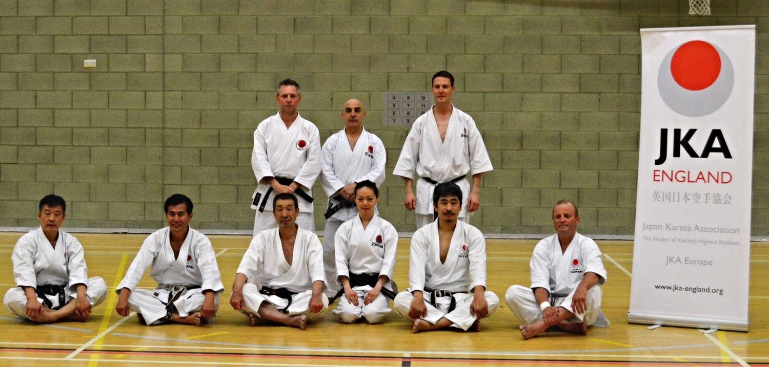 Another successful course at the JKA England Spring International Course. Picture taken with Sanna Sensei, Ohta Sensei and guest instructors, Nagatomo Sensei, Osaka Sensei, Okuma Sensei and Larsen Sensei.