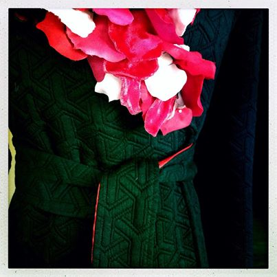 Valentine trench with over 200 hand cut silk rose petals.