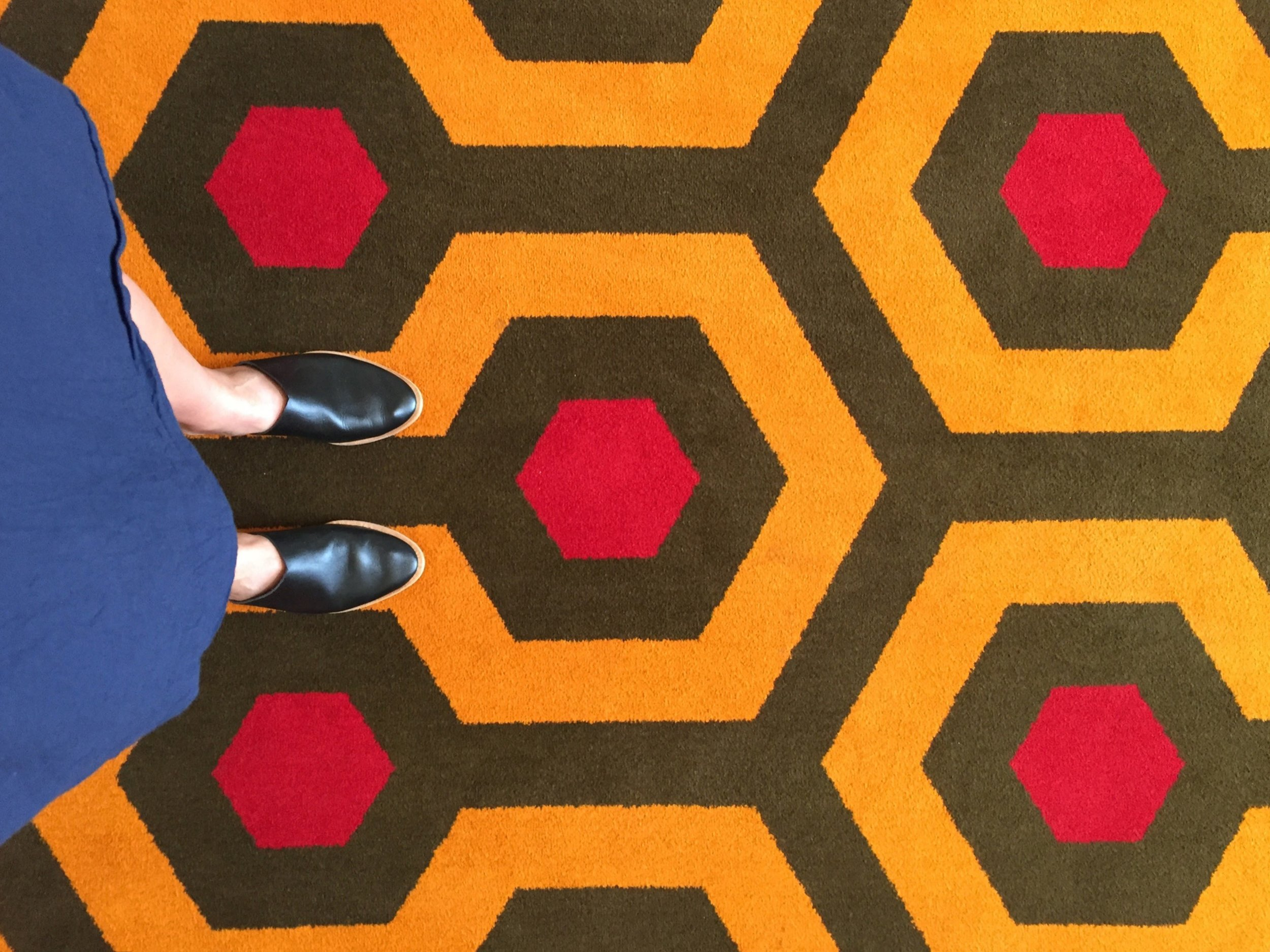 DAY FOUR  at this point, I'm admiring the hotel carpet inspired by Stanley Kubrick's film The Shining.