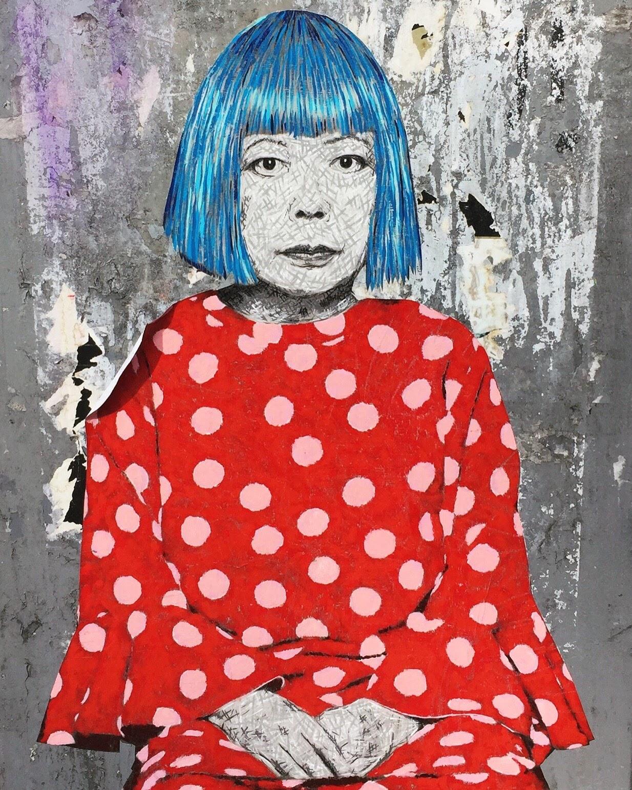 Yayoi Kusama street art by Seattle artist Baso Fibonacci