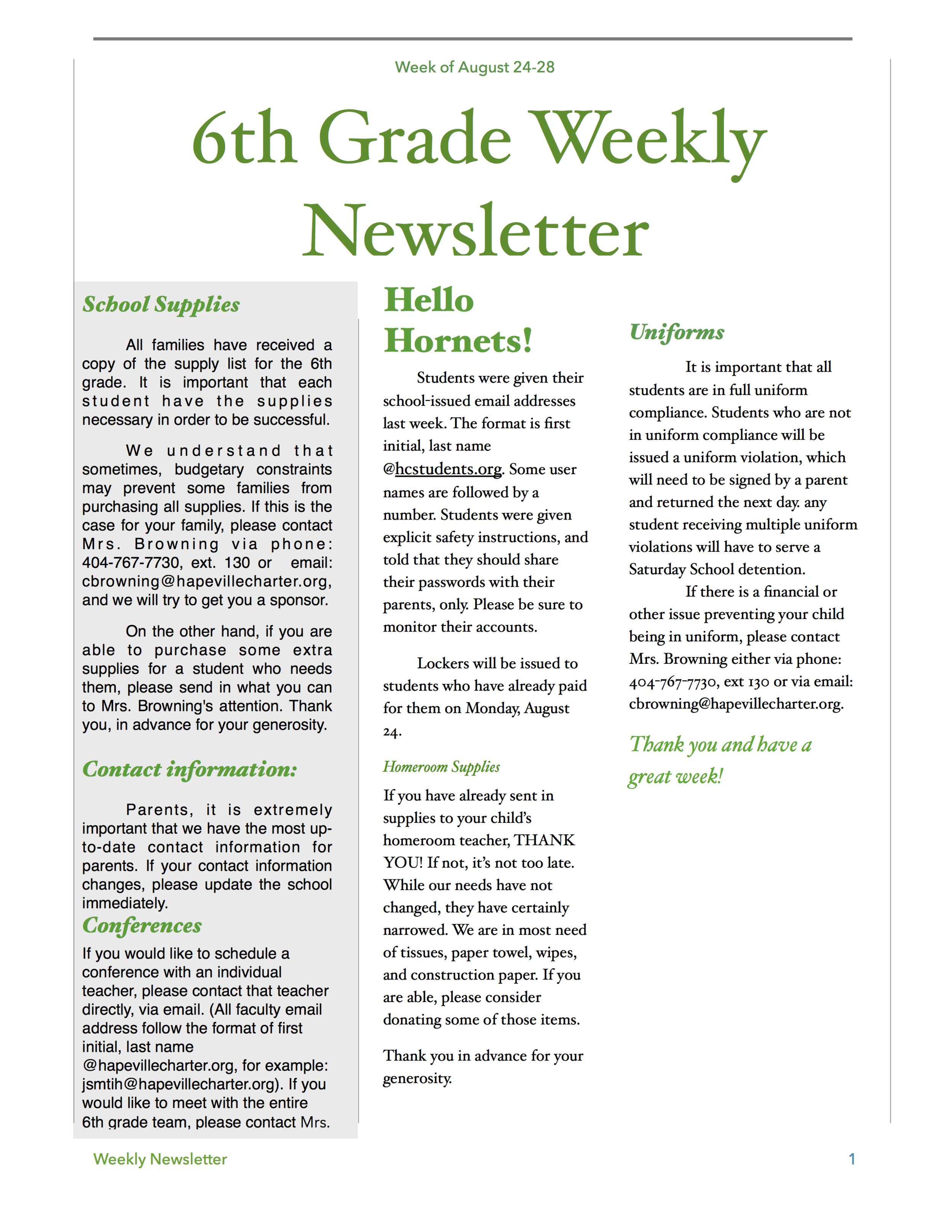 6th grade newsletter