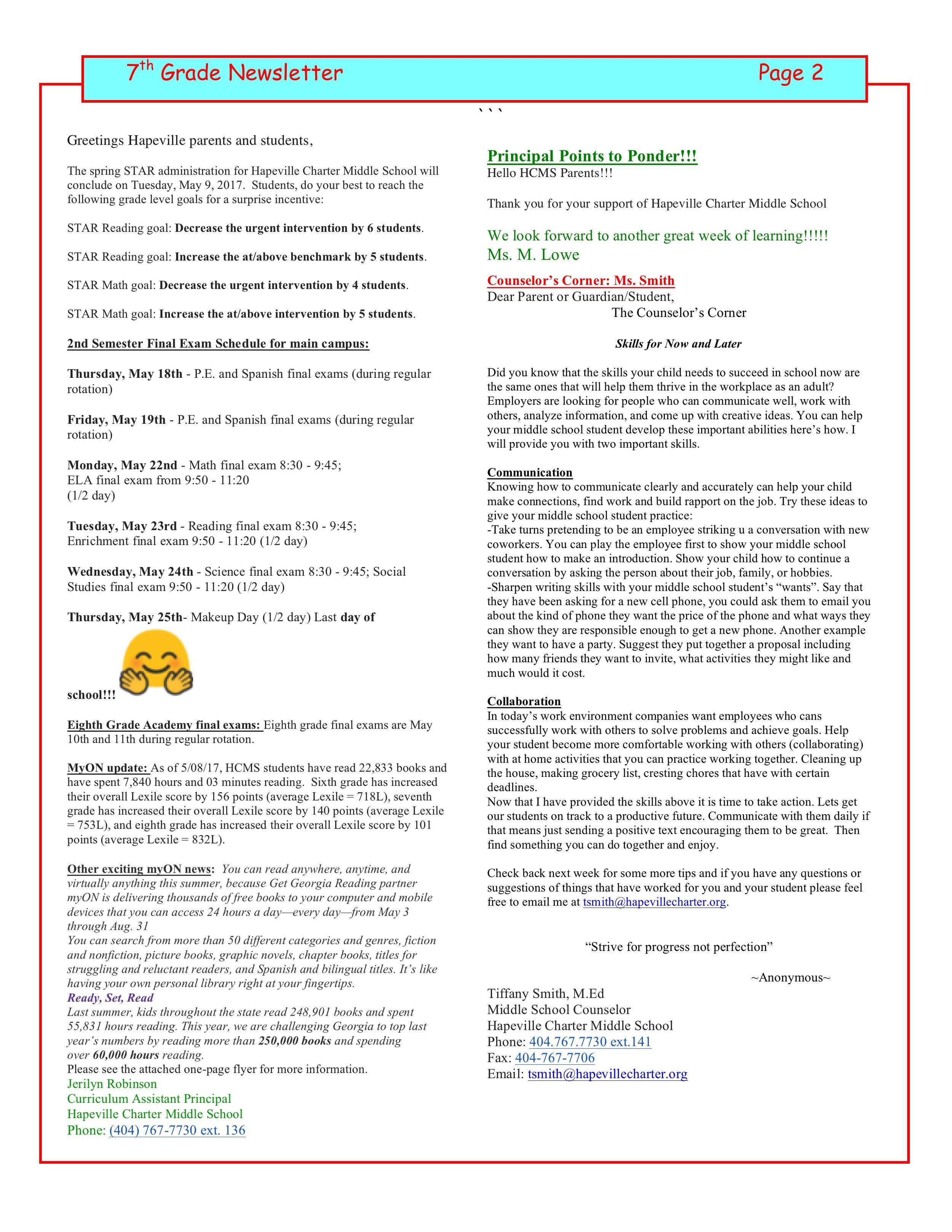 7th Grade — 7th Grade Newsletter — Hapeville Charter Middle School