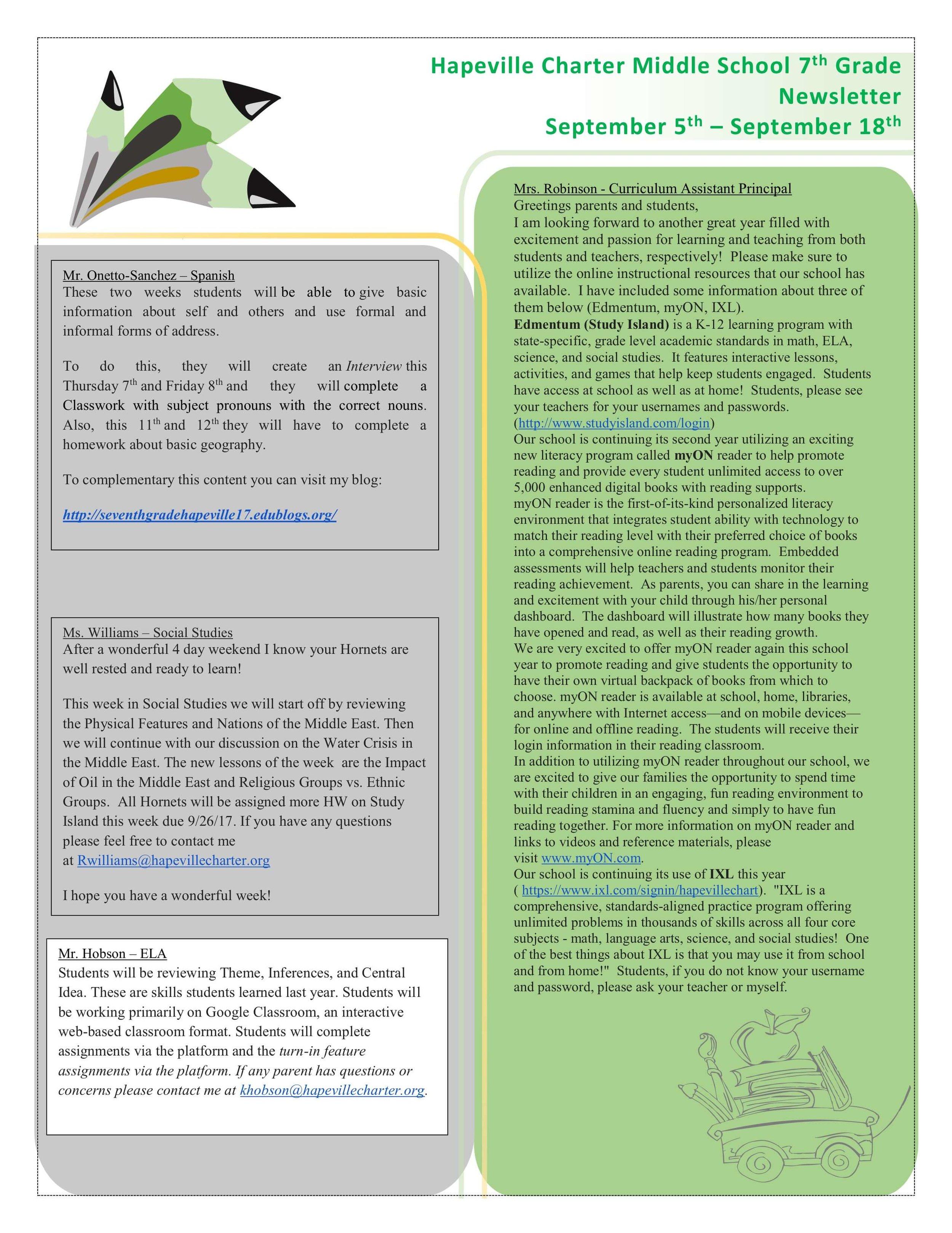 HCCA 7th Grade Newsletter -