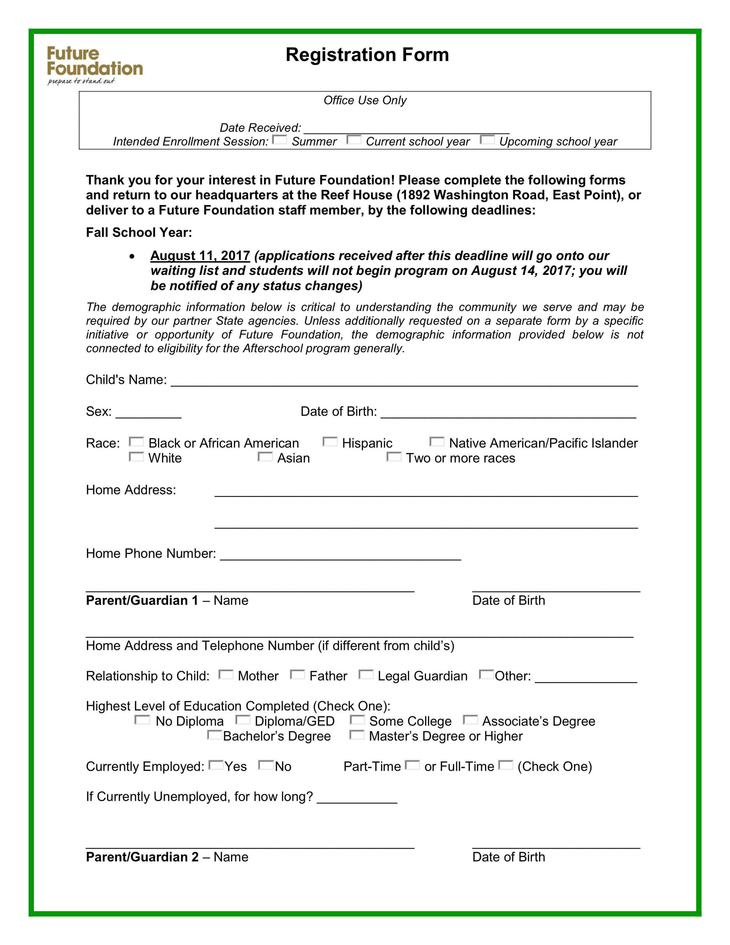 Future Foundation Registration Form -