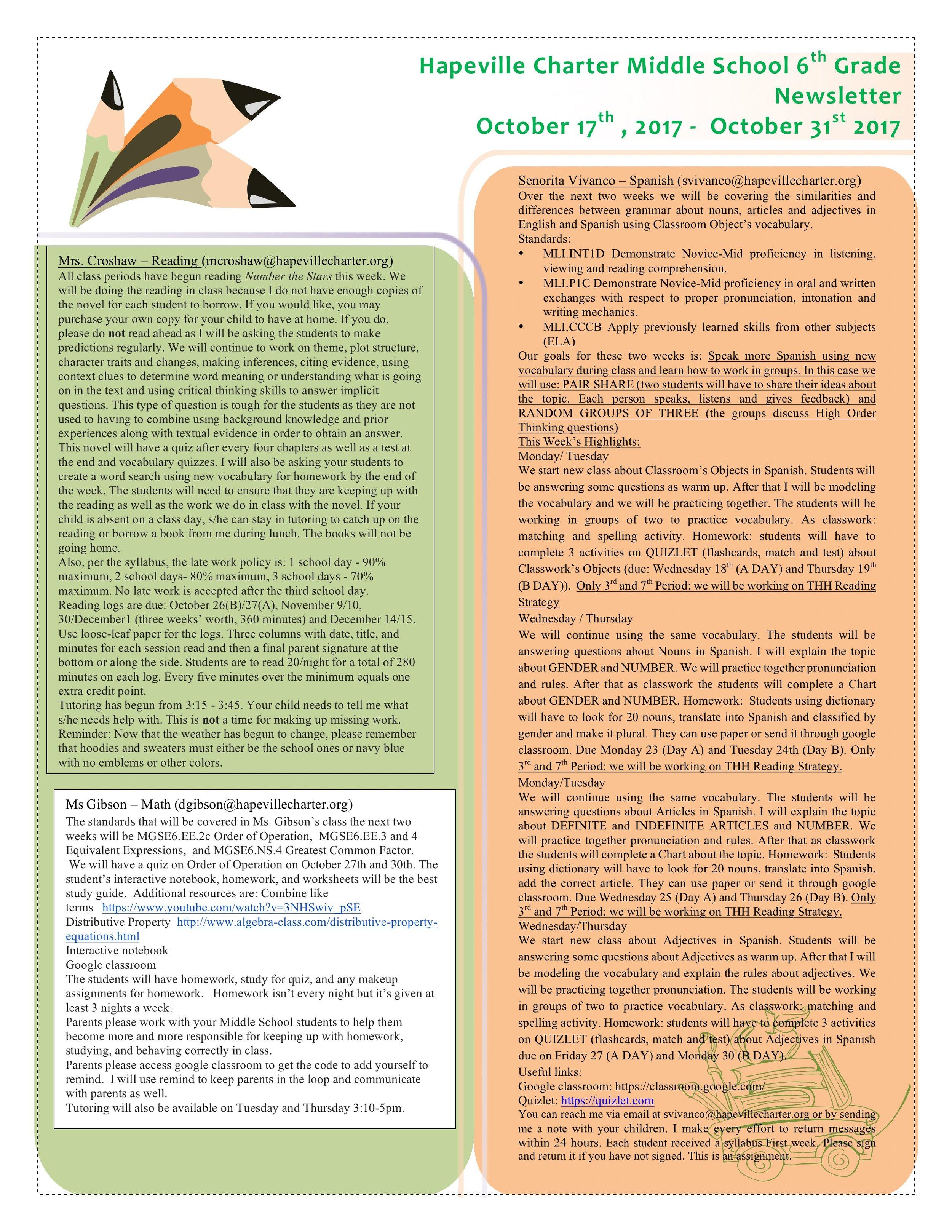 6th Grade Newsletter -