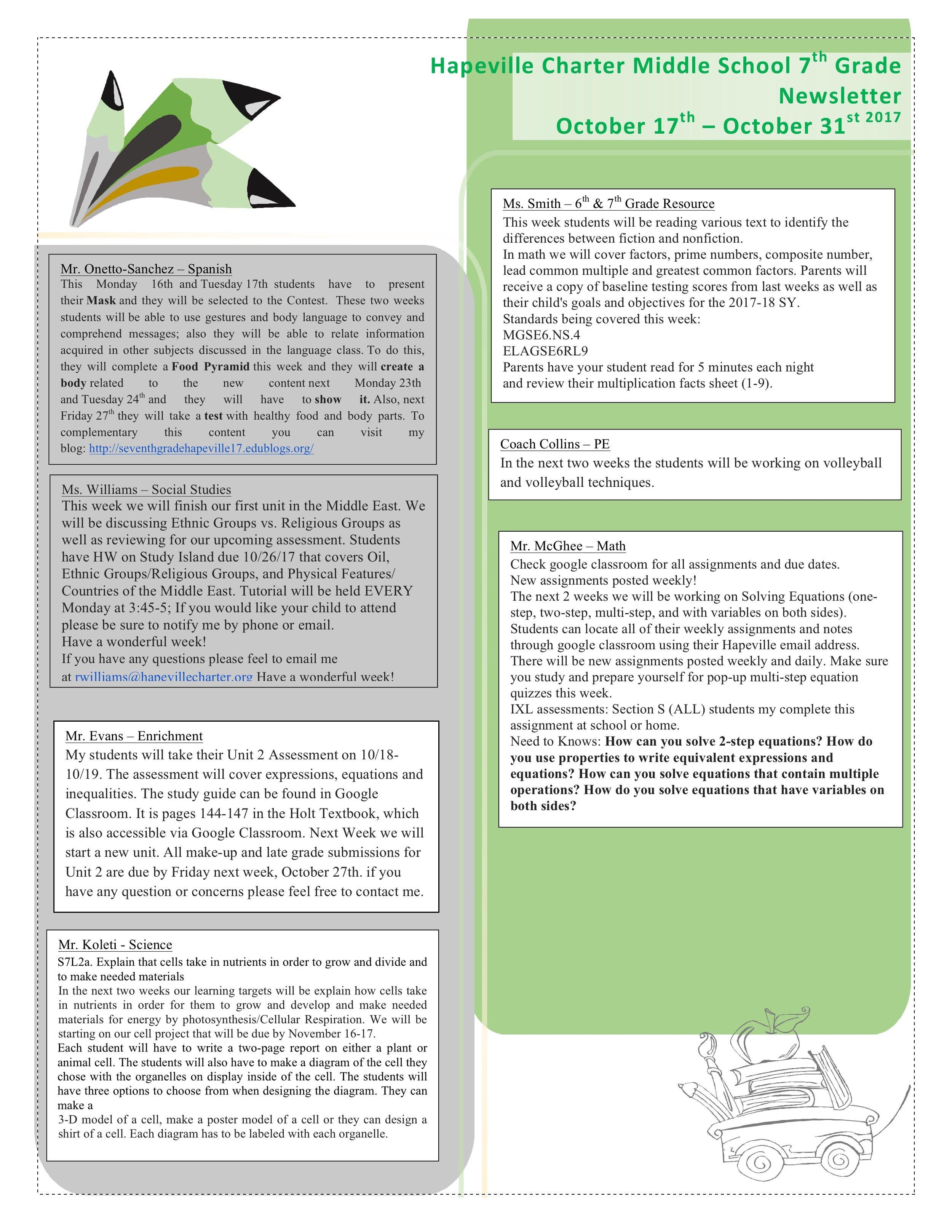 7th Grade Newsletter -