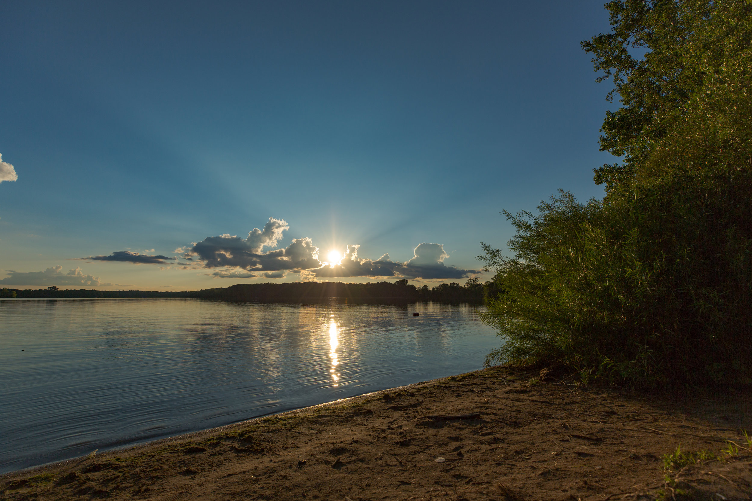 Lake Hudson shoreline sunset