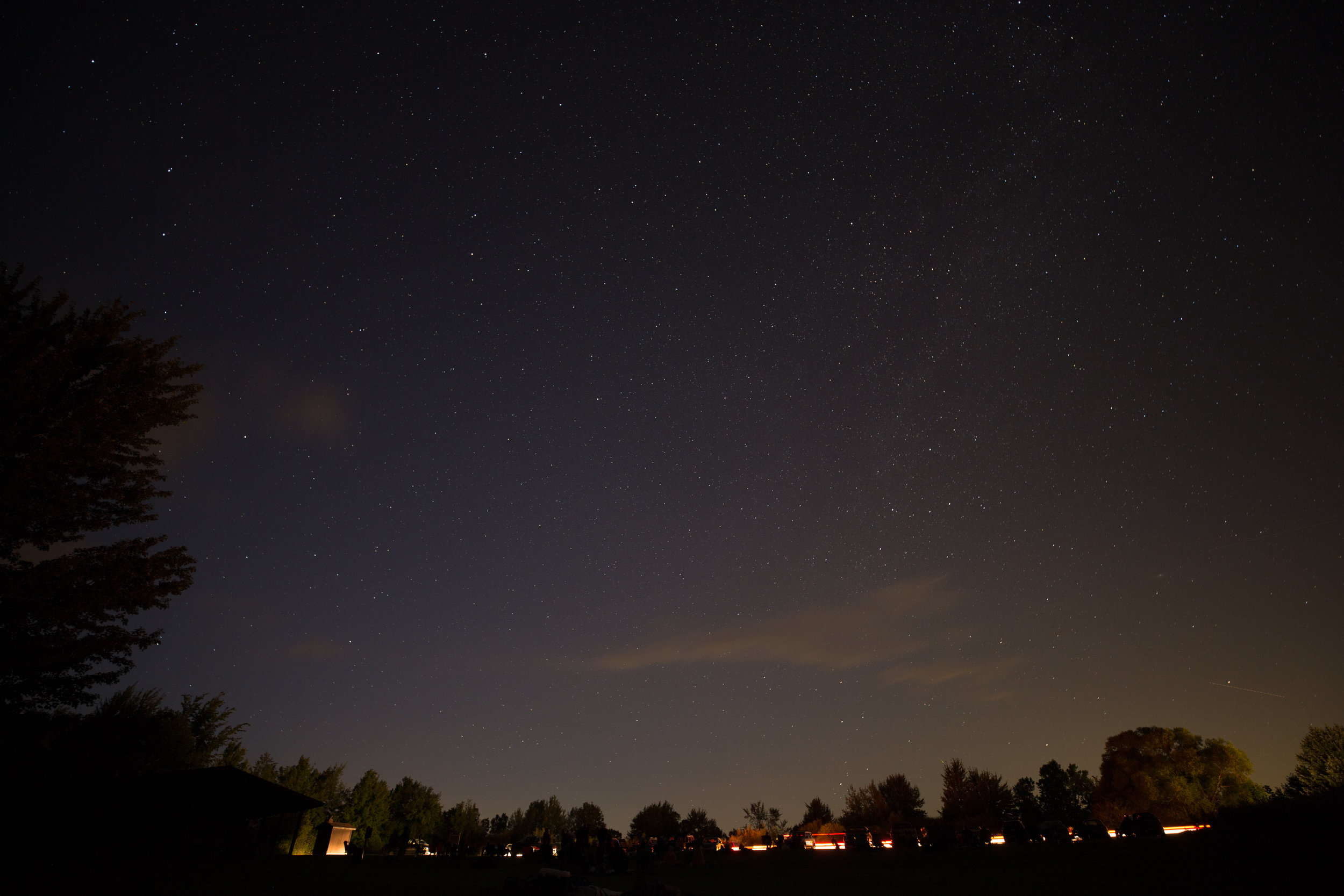 Night skies dark park Lake Hudson