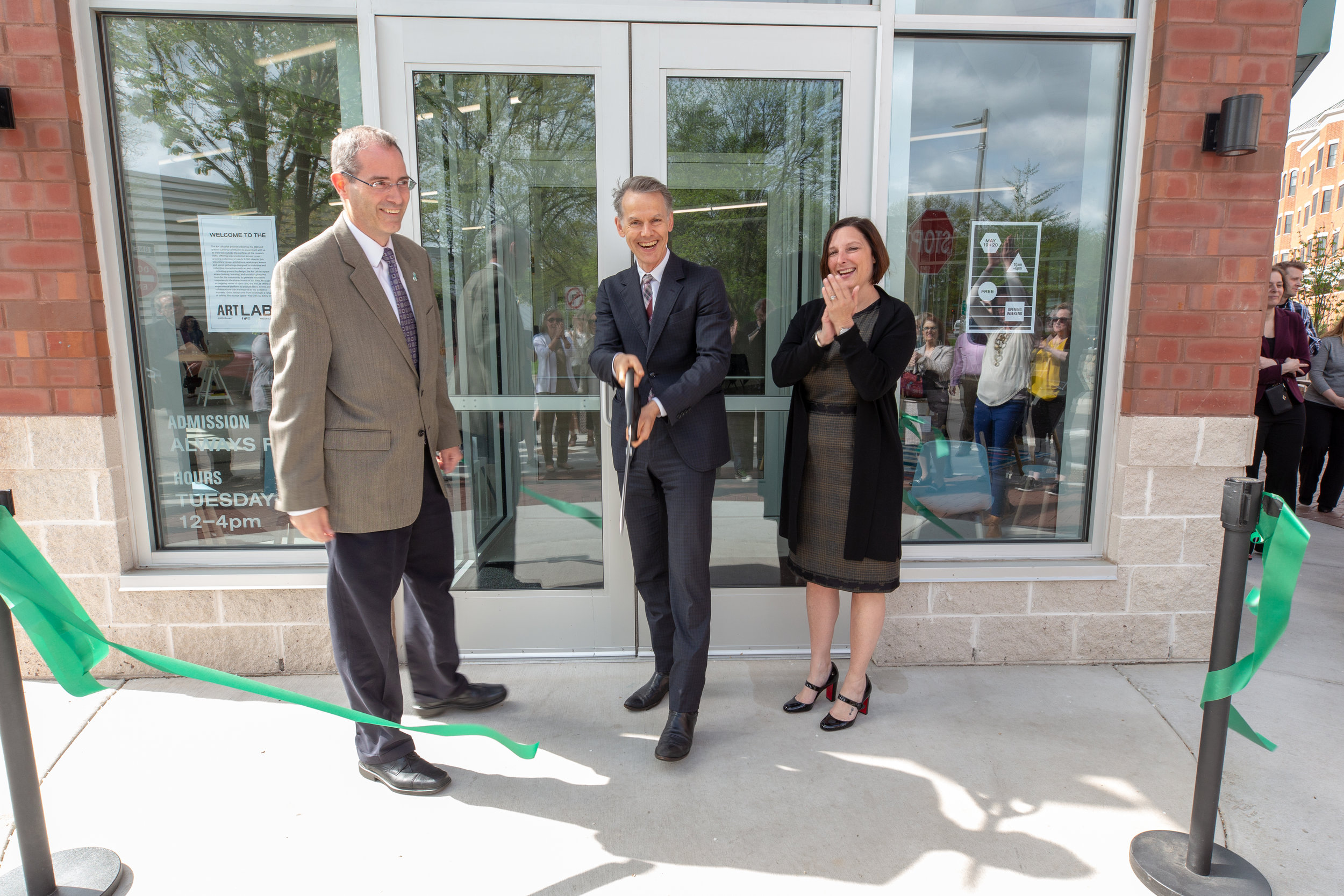 Art Lab opening with Dean Christopher Long, Marc-Olivier Whaler Director of the MSU Broad, President and CEO MSUFCU April Clobes
