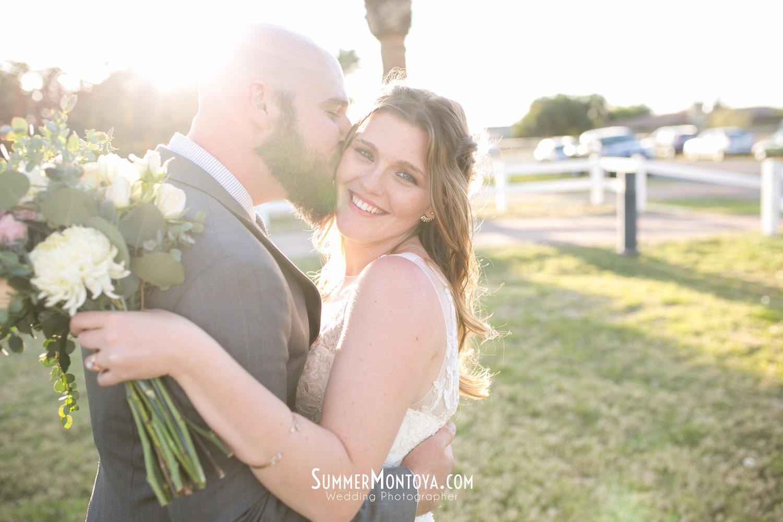 Gilbert backyard wedding bride and groom poses