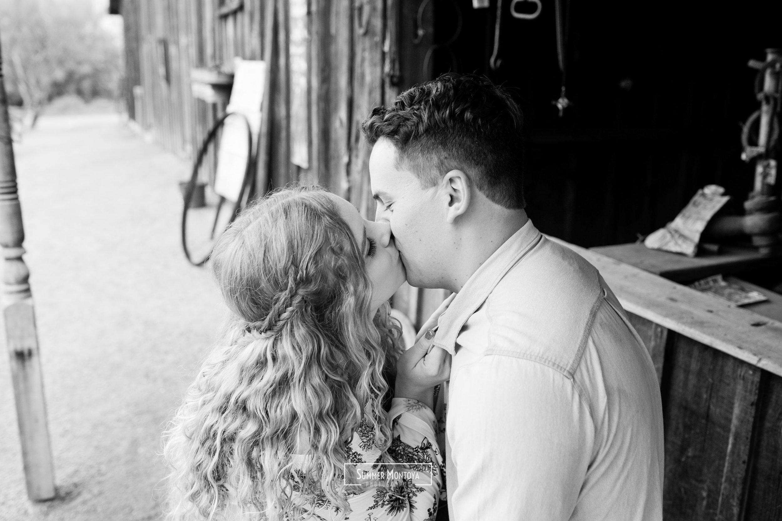 black-white-kissing-engagement-photo