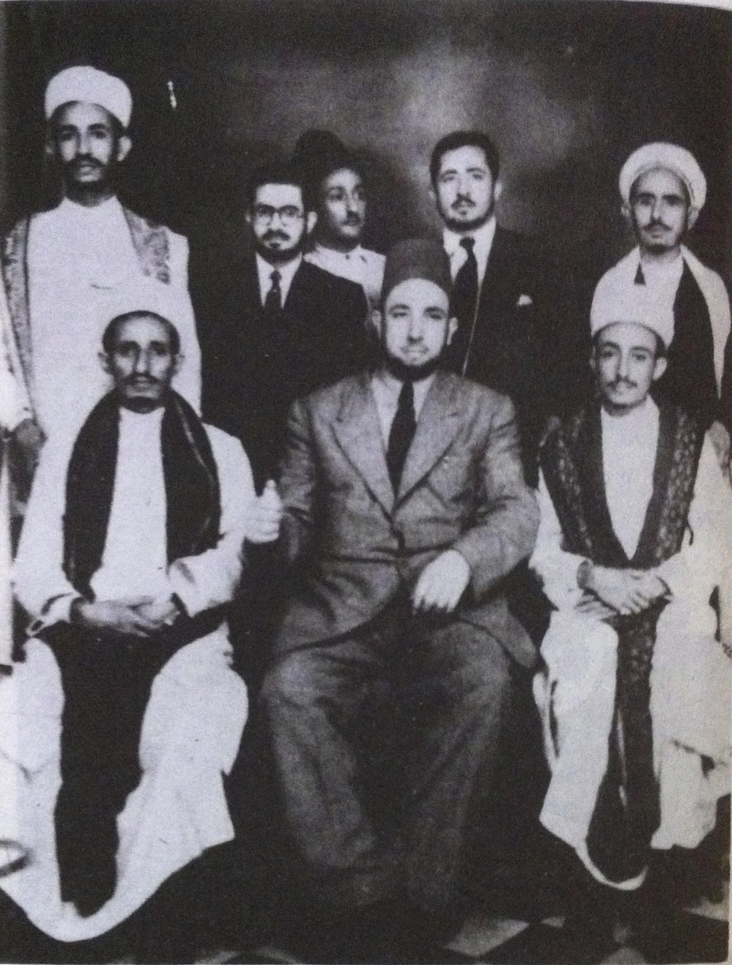 Front row from the right: Hussein Ben Ali Al-Waisi, Al Fadheel Al Wartlani and Abdullah Al Iryani  Back row from left: Mohammed Al Emad, Mohiye AlDin Al 'Ansi, Ahmed Al Horesh, and Zayed Al Al-Moushki  Last row: Ahmed Abdo Nasher *