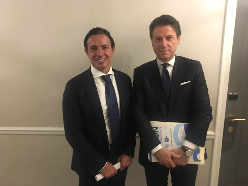 Renato Grussu with Italian Prime Minister Giuseppe Conte. Opening of the United Nations 2018