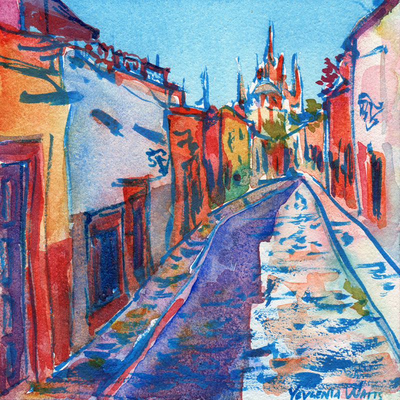 San Miguel de Allende. Ink and watercolor on Aquabord. Click to purchase a print.