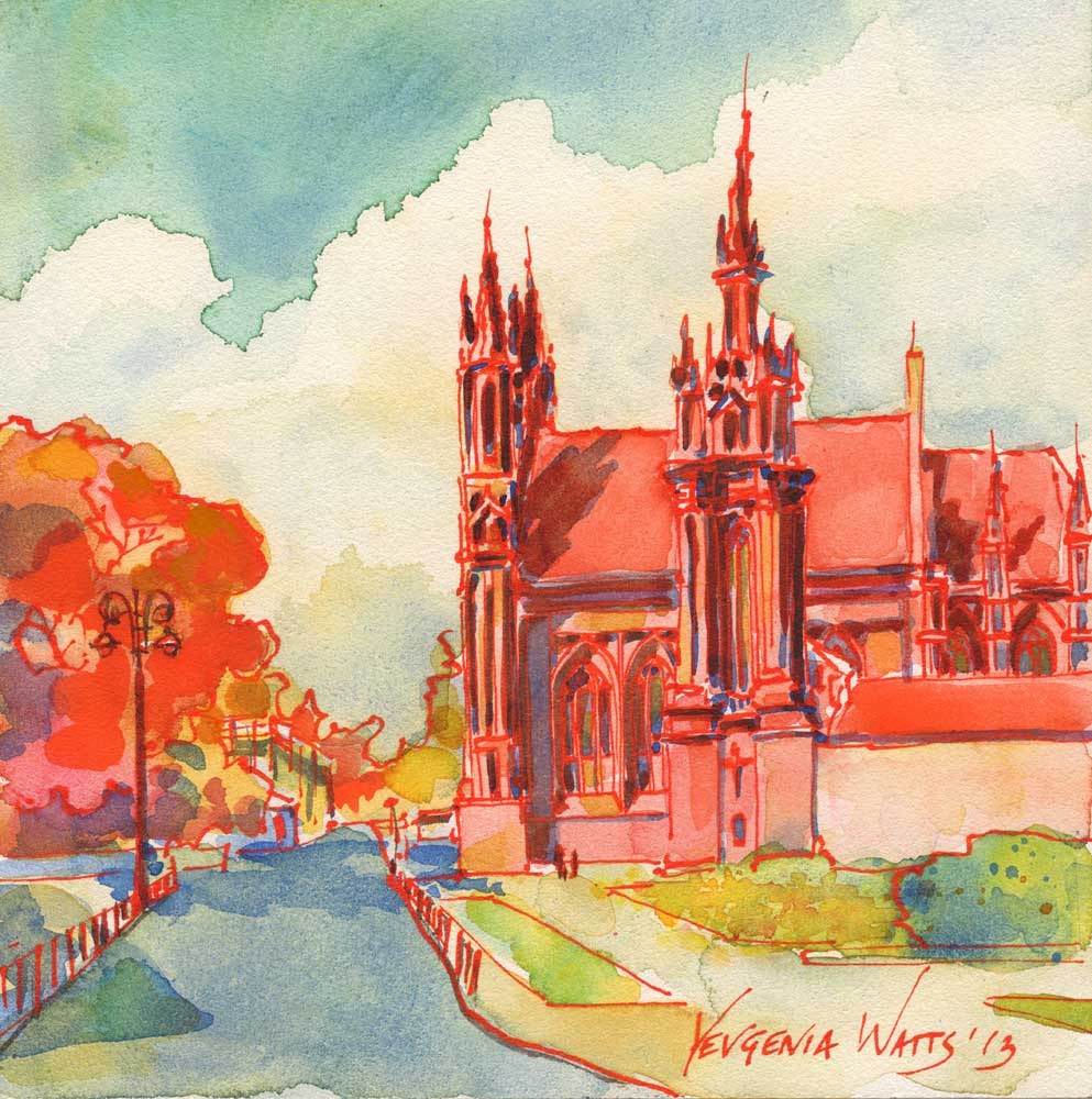 Gothic cathedral painting watercolor