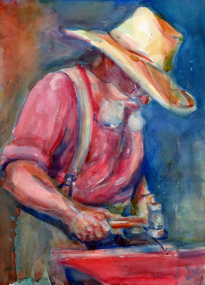 blacksmith watercolor