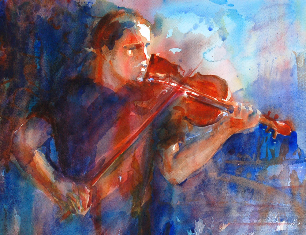 violin player watercolor painting portrait
