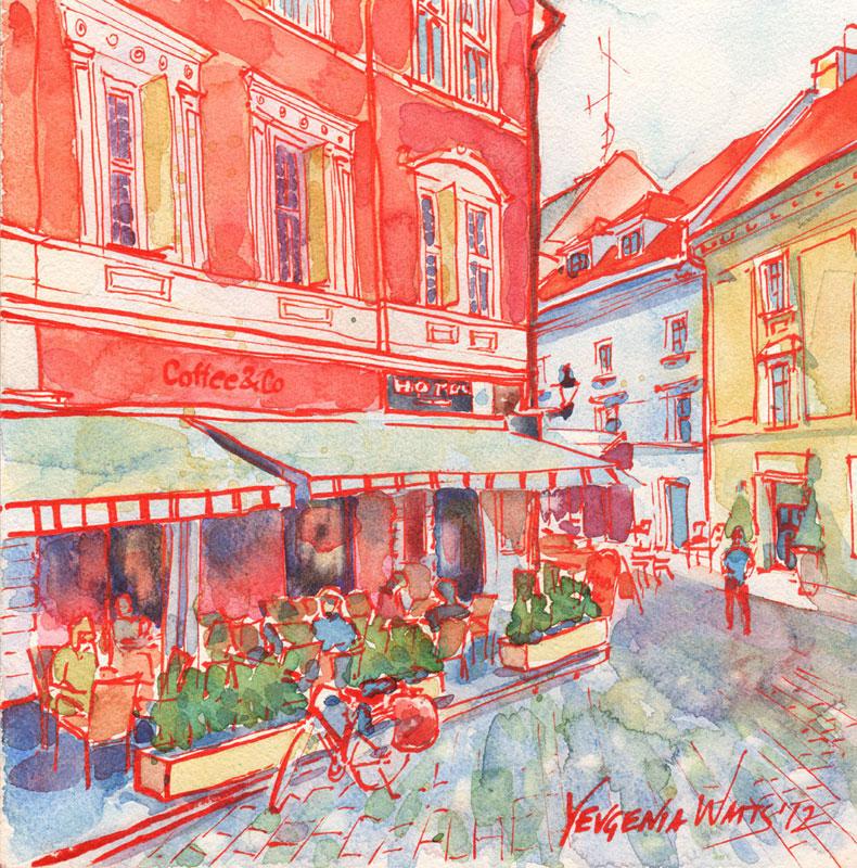 european coffee shop street scene art for sale