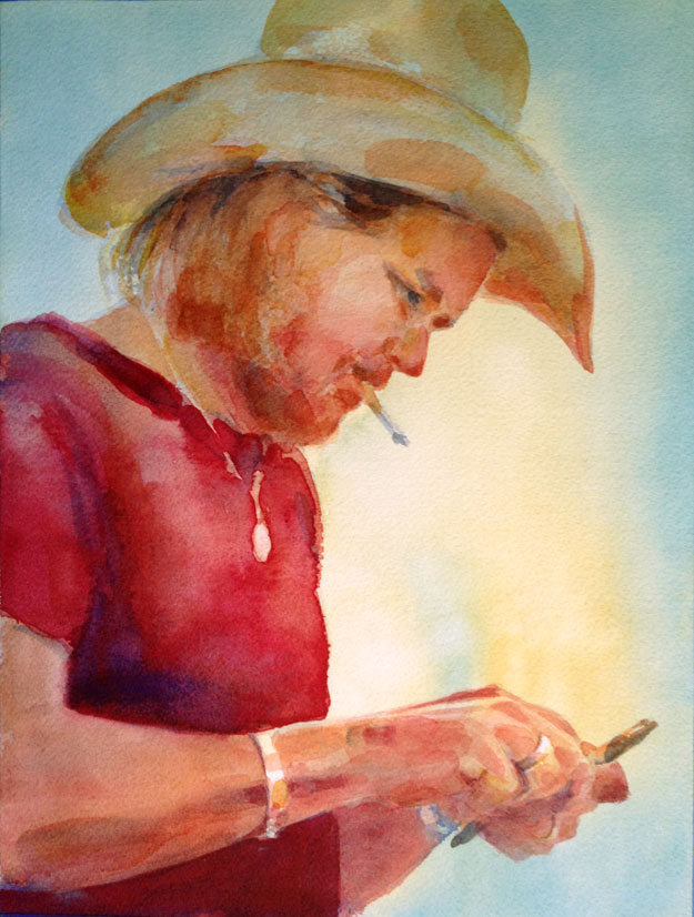 cowboy watercolor painting
