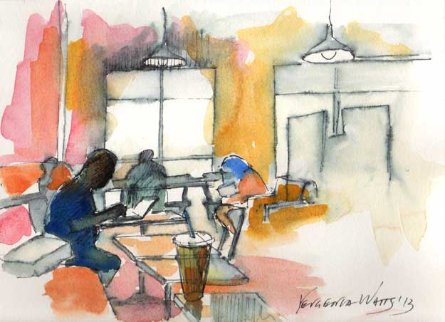 cafe sketch watercolor and ink