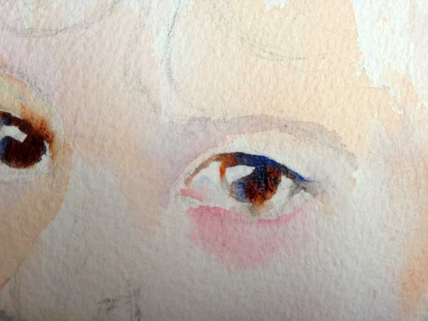 Closeup of the eyes at the beginning stage