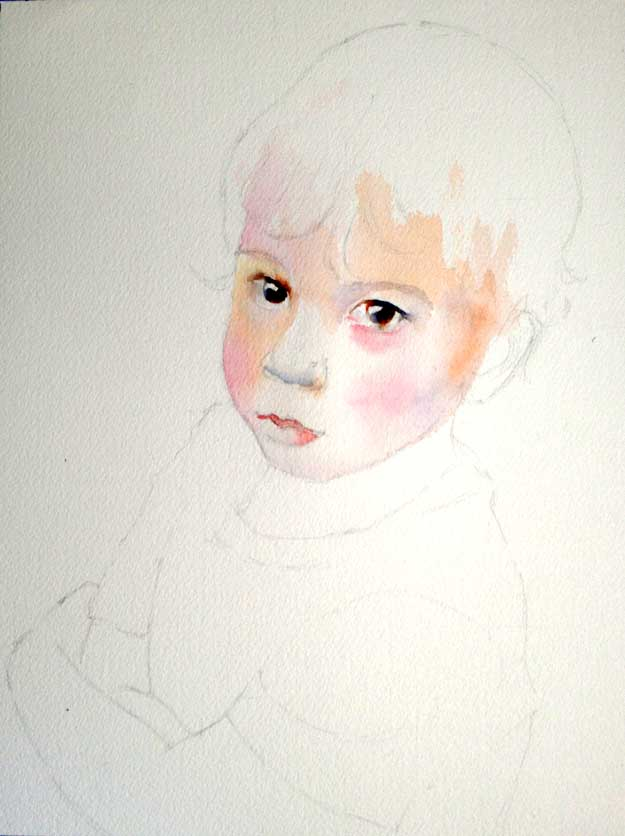 beginning a watercolor portrait