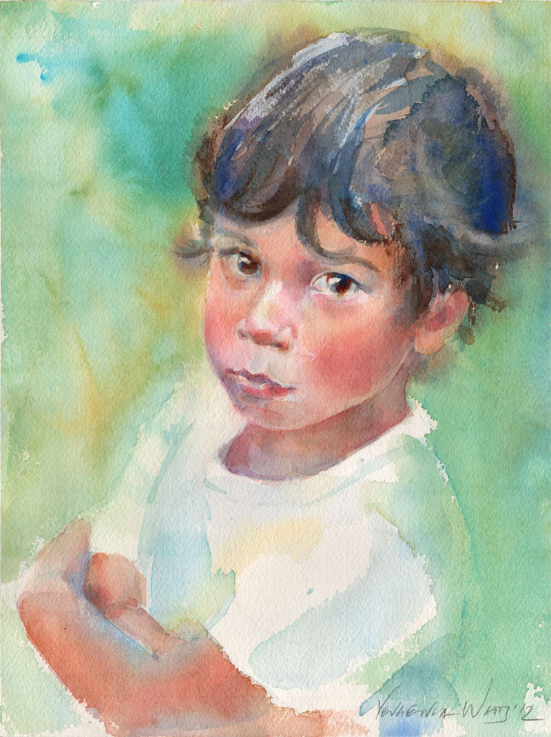 portrait of a child in watercolor