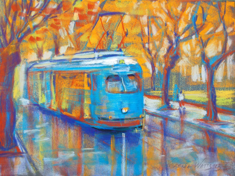 tram on a city street Europe