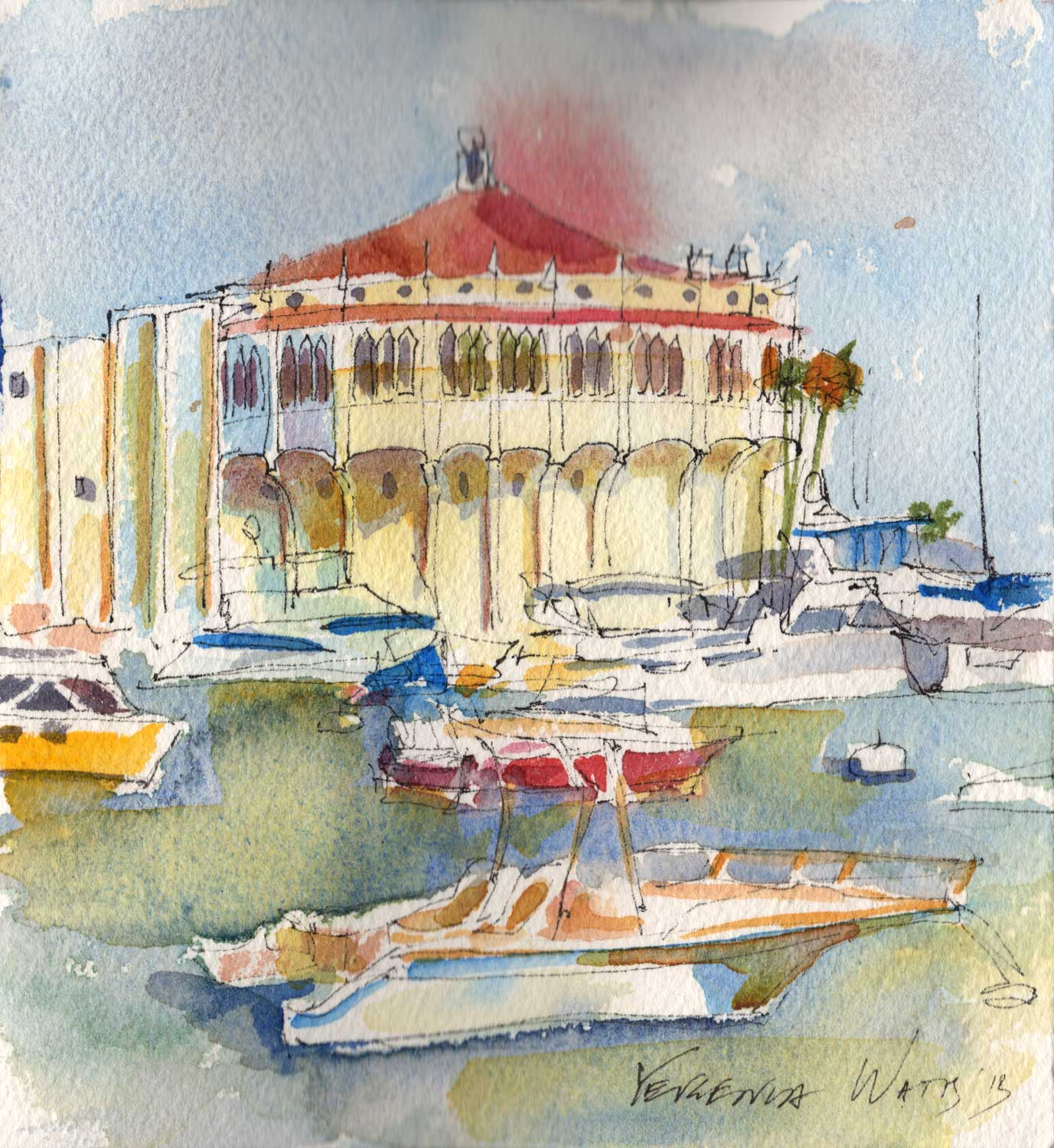 The Casino (which is not a casino but a movie theater) in Avalon. Pen and watercolor on paper.