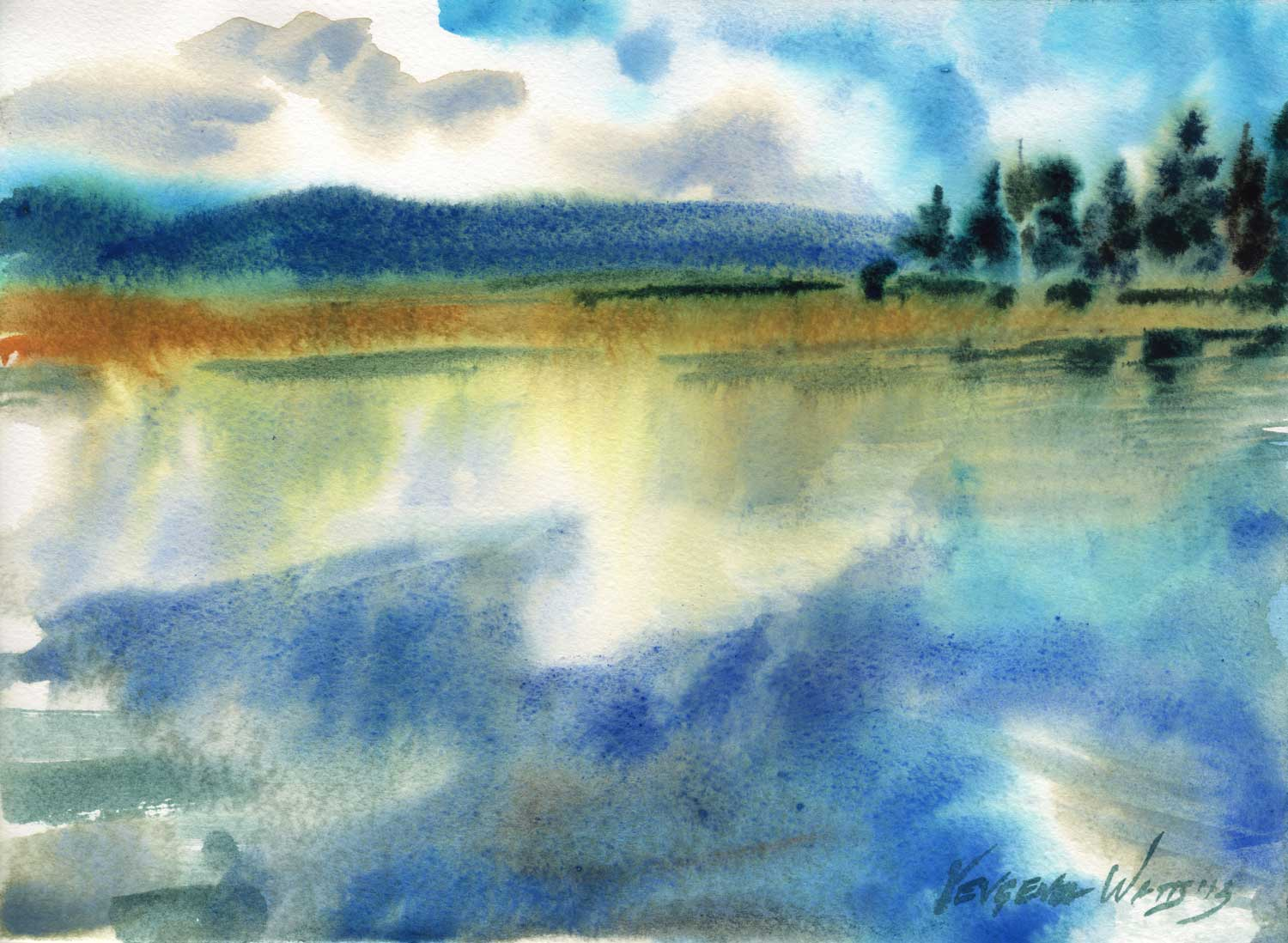 """11x15"""" Watercolor on Lanaquarelle watercolor paper. $95.  Buy here."""