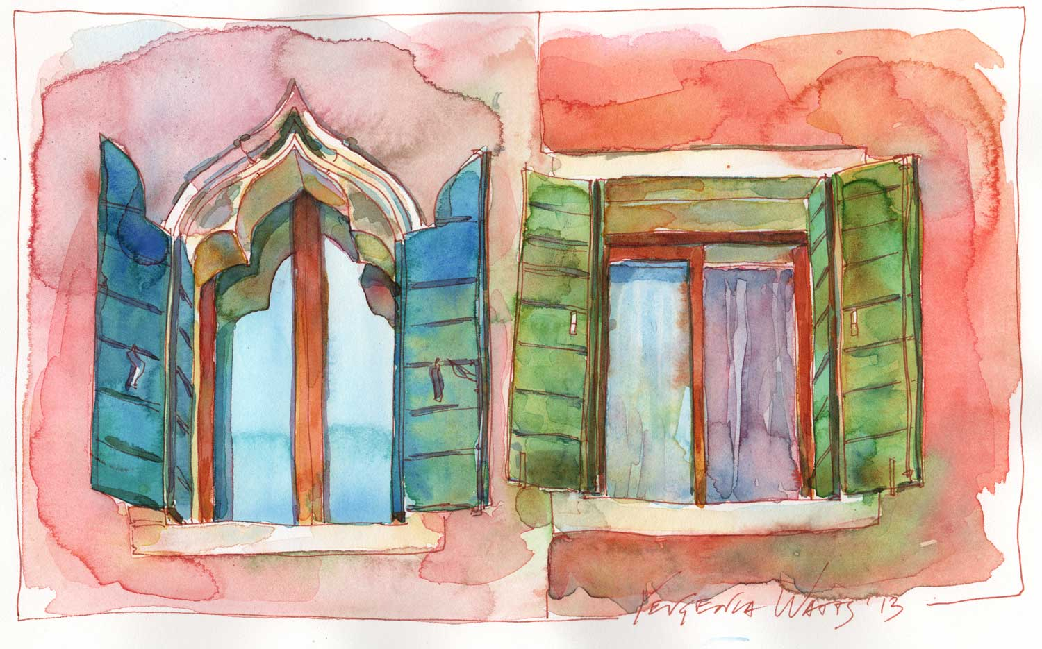"""6.5 x 10"""" ink and watercolor on hot press paper. Special price of $75 until Februrary 1."""
