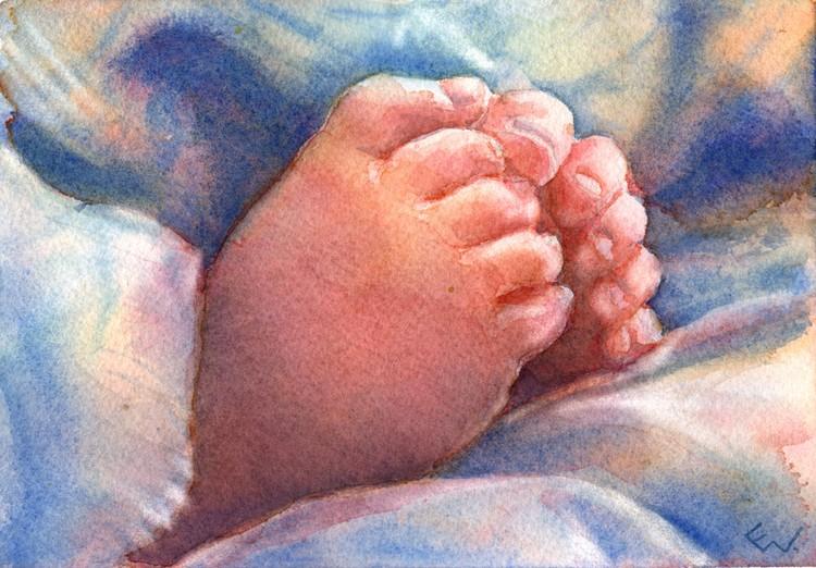 """""""Little Feet"""" Watercolor on paper."""
