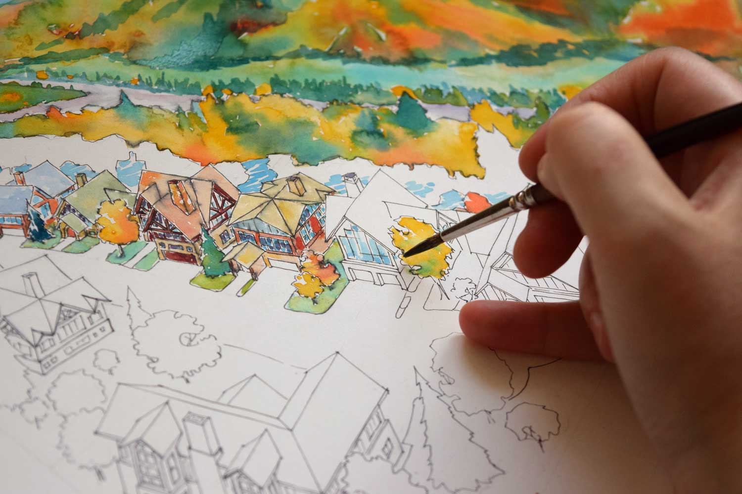 Working on an architectural illustration of a residential development in Colorado
