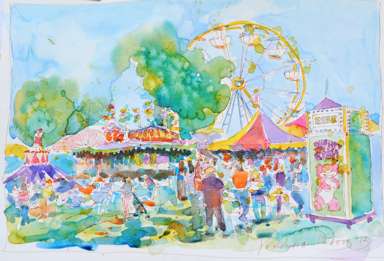 San Bernardino county fair. Watercolor on paper, not available.