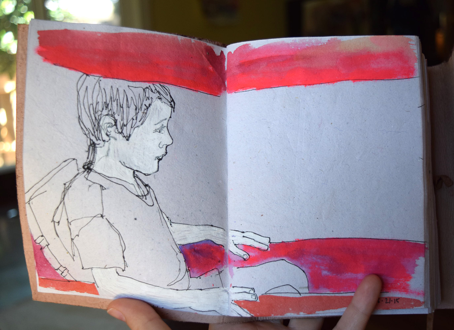 Sketch of my son in his new red wagon.