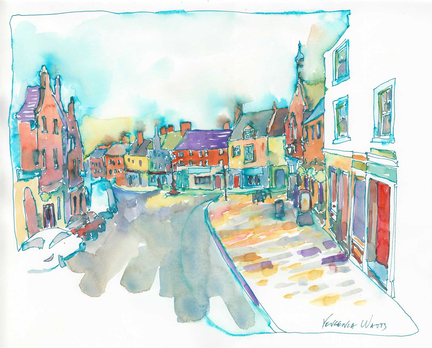 """High Street."" 11 x 13.5"" pen and watercolor on hot press watercolor paper. Click for more information."