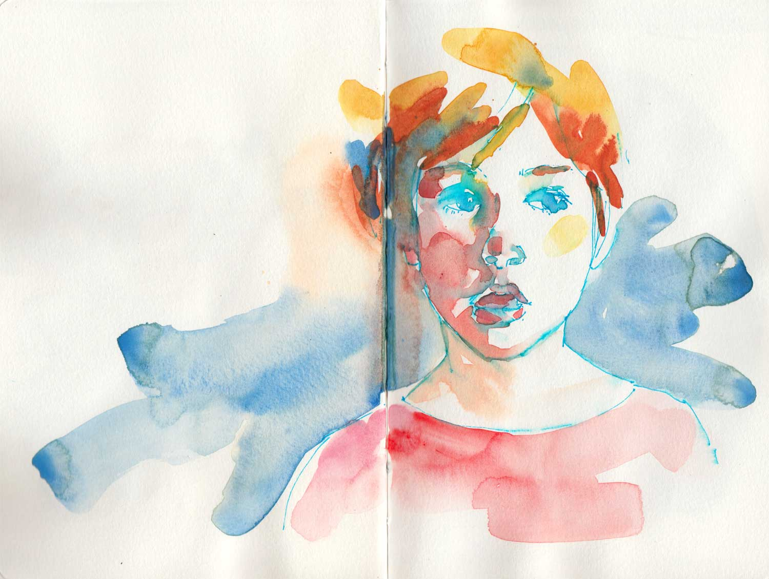 Katia. Le Pen and watercolor in a Handbook sketchbook.