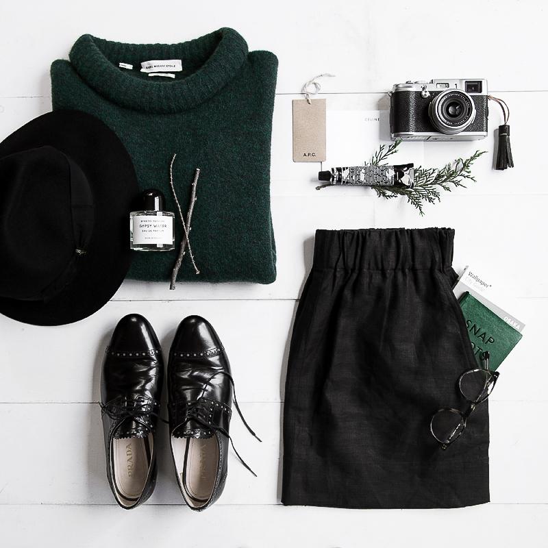 Outfit du jour:   | Isabel Marant sweater |  Borsalino Fedora  | Prada Oxford |  Fujifilm x100  |  Grown Alchemist Lip Balm  |  Gillian Tennant Skirt  |  Oscar Wylee Specs  |
